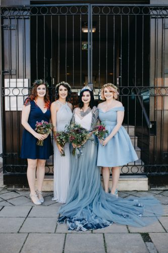 bride wearing chantal lauren grey wedding skirt by rock the frock bridal