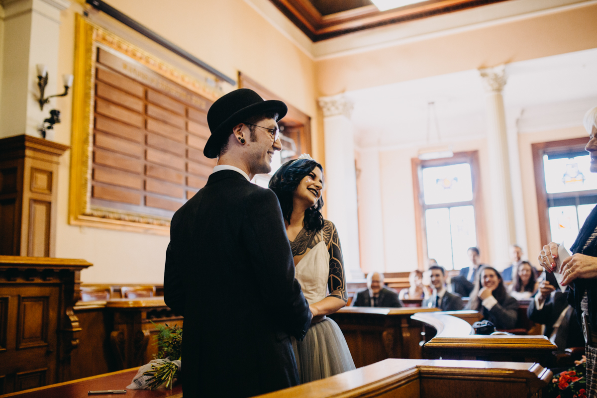 alternative couple getting married at brighton town hall