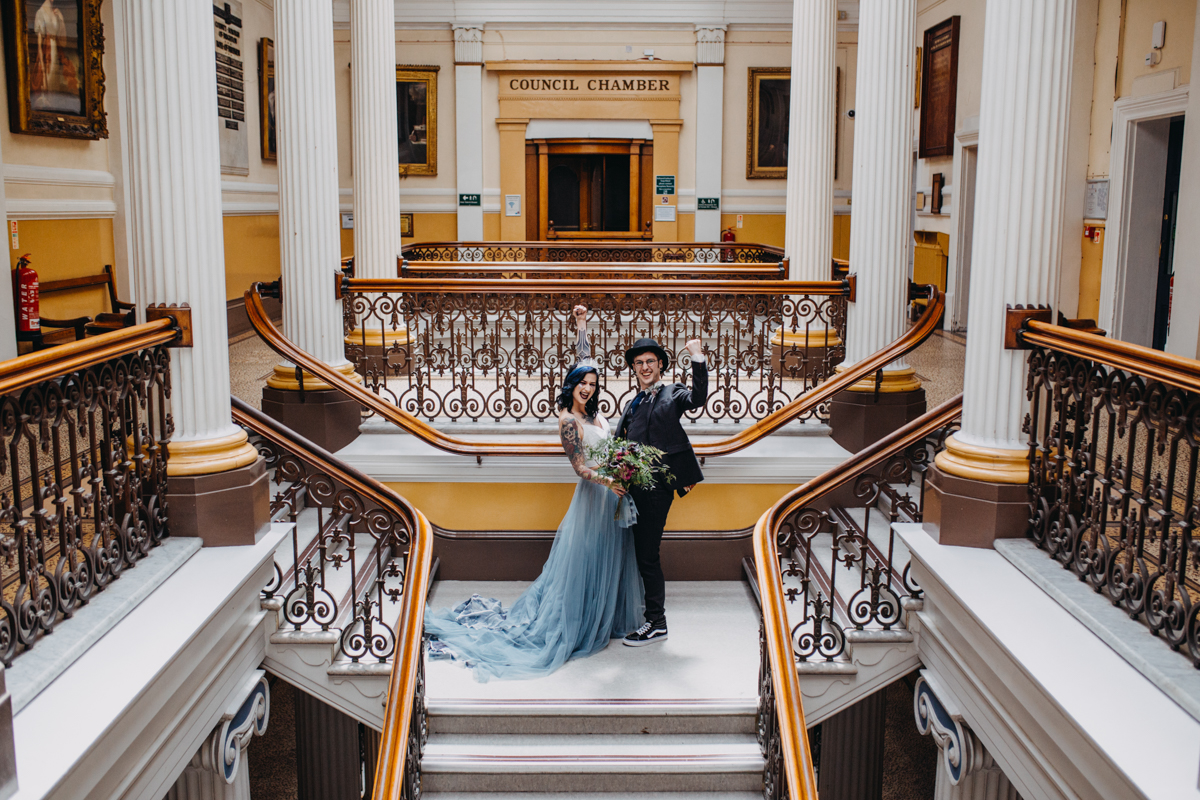 alternative tattoo skater couple getting married at brighton town hall