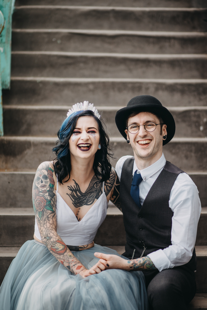 alternative tattoo skater wedding in brighton