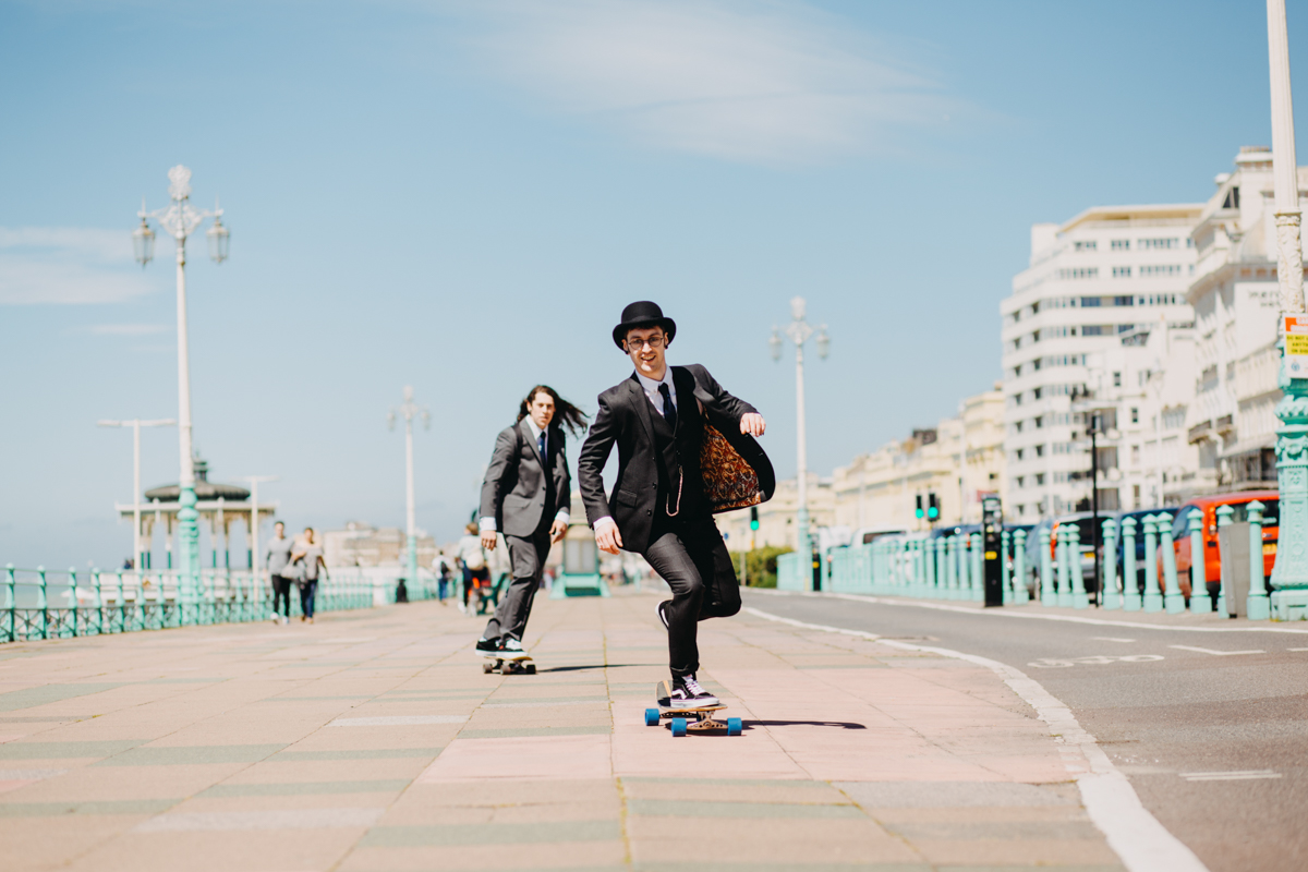 skateboarding groom who skateboards to wedding