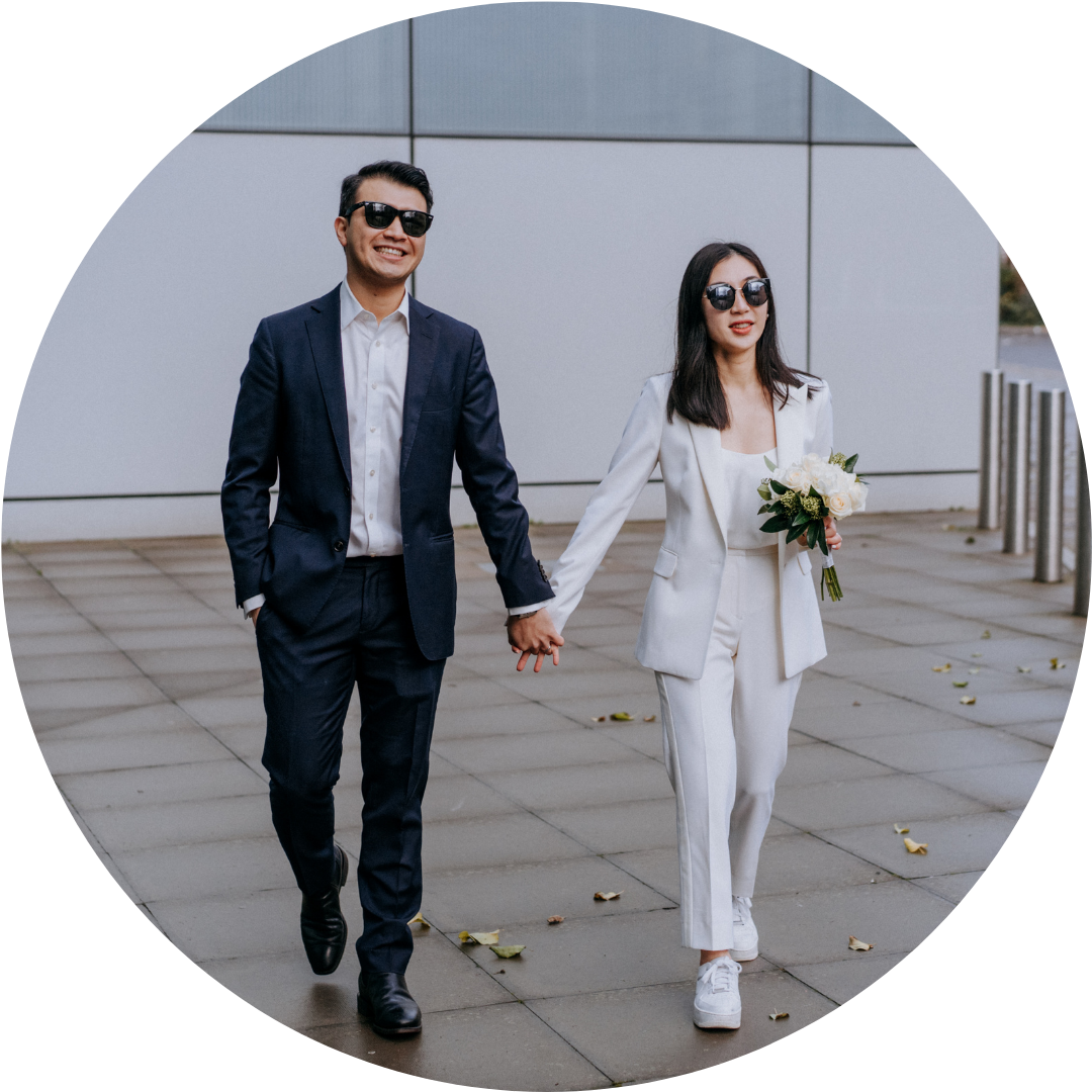 hackney town hall alternative wedding elopement couple in glasses wedding photography